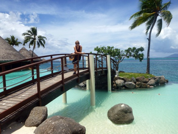 Small bridge over Le Lagon infinity pool. This is a favourite spot for wedding photographs.