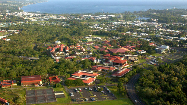 Aerial photo of UH Hilo campus
