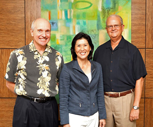 From left, John C. Dean, president and CEO of Central Pacific Bank; Susan Yamada, executive director of the Pacific Asian Center for Entrepreneurship and Vance Roley, dean of UH Manoa's Shidler College of Business