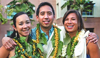 From left, Akolea Ioane, Kenneth Ortiz and Sara Kuʻulei Miles