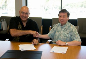 UH West Oahu Chancellor Rockne Freitas and Tokai University Chancellor Kiyoshi Yamada signed the agreement on January 9