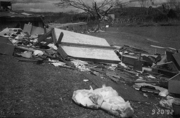 black and white photo of building rubble