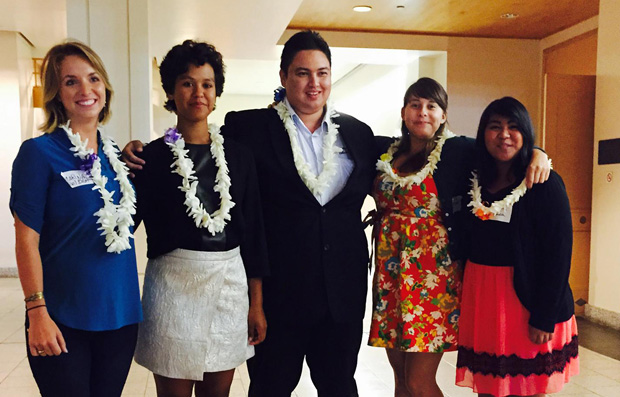 The awards ceremony was also a chance to recognize SPJ Hawaiʻi Chapter summer interns placed at various media organizations and one business throughout Hawaiʻi. UH Mānoa SPJ interns from left: Marina Riker, Shiwani Johnson, Mathew Ursua, Bianca Bystrom Pino, and Victoria Cuba.