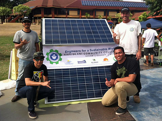 ESW members debuted the Solar Cart at Kapiʻolani CC's Earth Day. From top left to right: Steve Carlson of Solar Cool, Jason Salseg, William Kaeo, and Jackson Poscablo