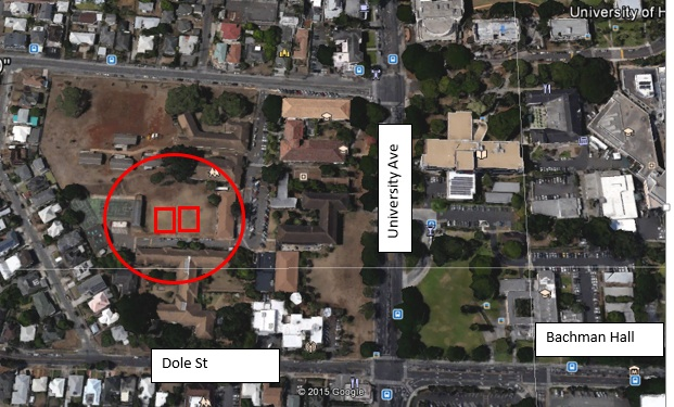 aerial map of UH Manoa campus with construction site