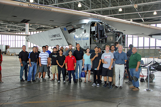 Students got a closeup look at the technology behind Solar Impulse 2