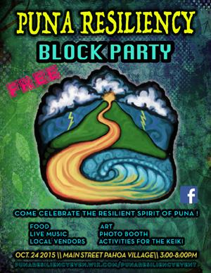 Hilo Puna block party flyer