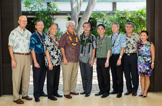 Left to right: Vance Roley, dean, Shidler College of Business; Lawrence M. Chew; Wesley B. Hiyane; Alton Miyashiro; Brian Isobe; Blake S. Isobe; Michael I. Tanaka; Hamid Pourjalali; director, School of Accountancy; and Unyong Nakata, senior director of development, UH Foundation-Shidler College of Business. Missing from photo: Dwayne S. Takeno and Chad Funasaki.