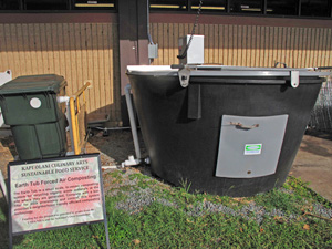 The Culinary Arts Sustainable Food Service earth tub, a small-scale, in-vessel composting system for recycling organic waste materials on site.