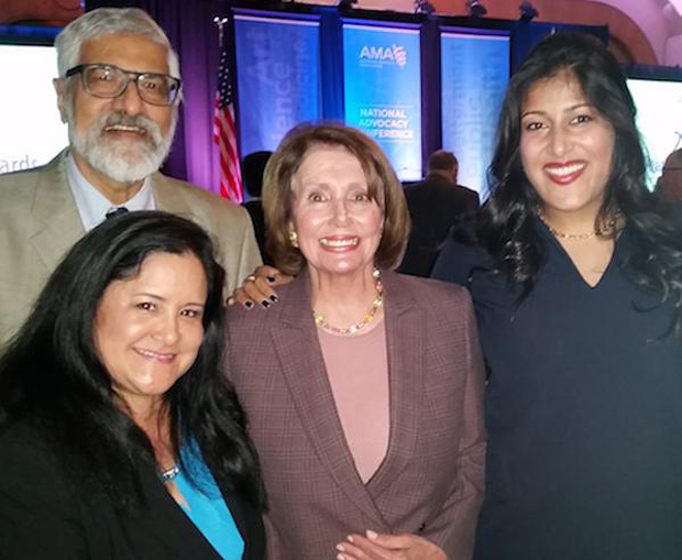 Dileep Ball with Lee Buenconsejo-Lum, Congresswoman Nancy Pelosi, Sarah Bal.