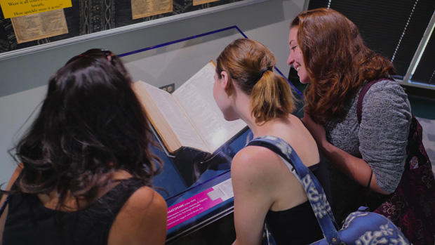 Students viewing exhibit