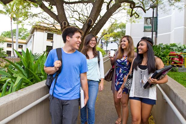 Four students near Shidler