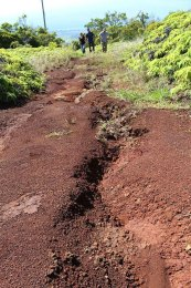 Close-up of agriculture road erosion