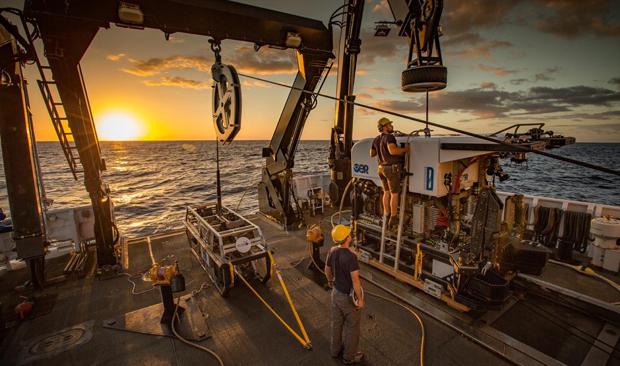 ROVs on deck of NOAA's Okeanos Explorer