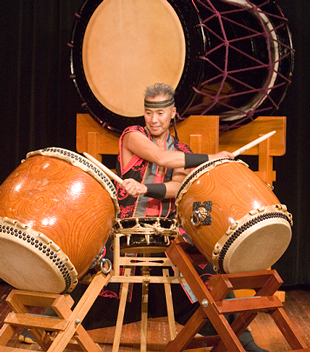 Endo hitting taiko drums