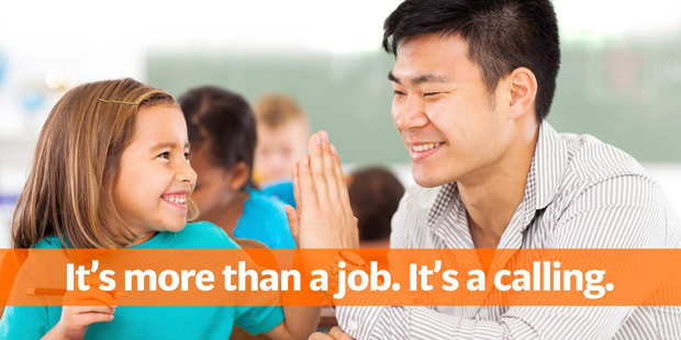 Young girl high-fiving an adult: It's more than a job. It's a calling.
