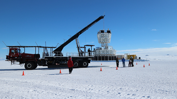 25 foot gondola on platform in snow covered Antarctica