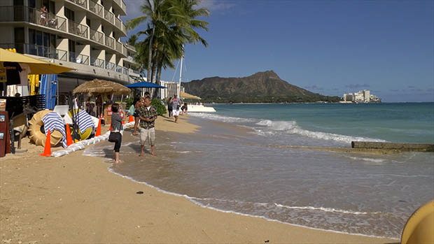 High water levels in Waikiki with Diamond Head in the background