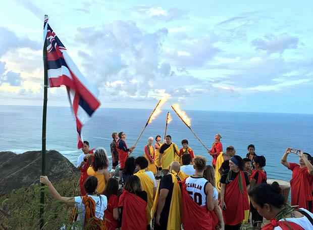 Kapiolani CC Students Hold Torches On Leahi, (Diamond Head).