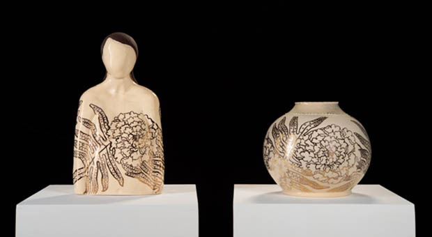 Two Ceramic Works, A Human Figure And A Vase.