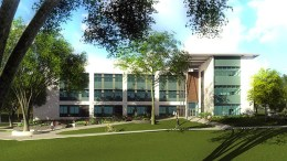 Rendering of the exterior of the Life Sciences building
