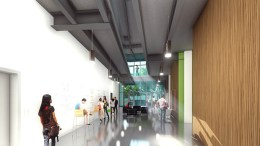 Rendering of an interior walkway in the Life Sciences building