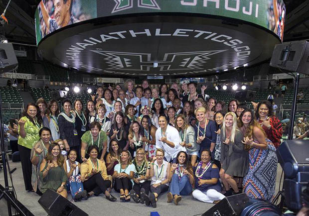Dave Shoji surrounded by family, friends and current and former players at the Stan Sheriff Center