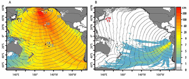 Graphs of tsunami amplitudes