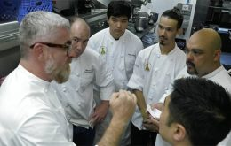 chef Atala speaking to a group of people in chef uniforms