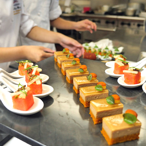 culinary student preparing dishes