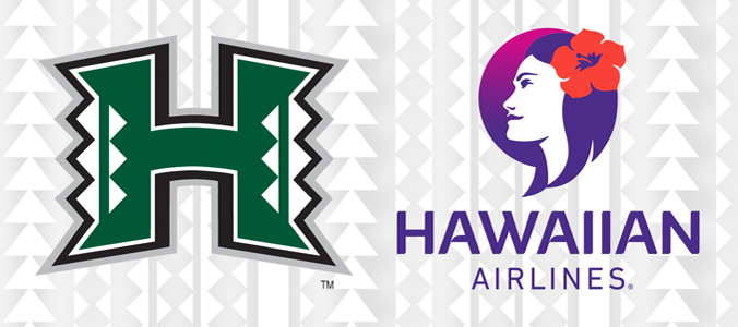 Hawaiian Airlines and UH Manoa Athletics logos