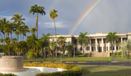 rainbow over Hawaii Hall