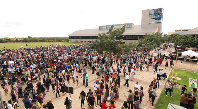 UH West Oahu campus with people