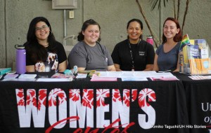 Four women sitting at a table for the womenʻs center