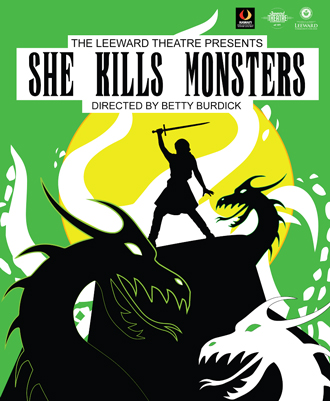 Silhouette of a woman with a sword standing above three monsters.