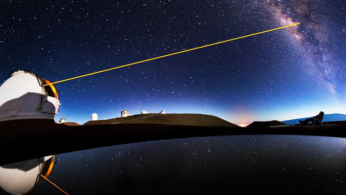 Image of a laser beam from the Keck II telescope to the night sky