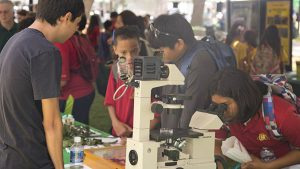 Students participate in demonstrations at the Manoa Experience