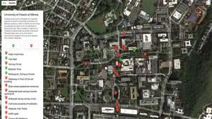 Screenshot of google map of U H Manoa campus