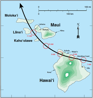 hurricane track on Hawaii map