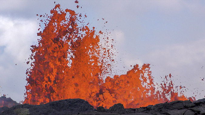 Lava erupting out of the ground