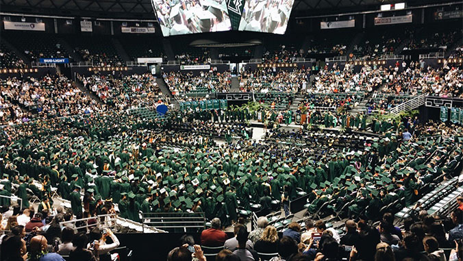 Wide shot of the Stan Sherrif Center during commencement