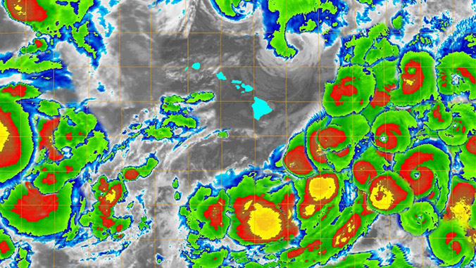 Map with Hawaii in the center surrounded by satellite images of cyclones