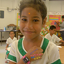 Child wearing accelerometer to measure physical activity.