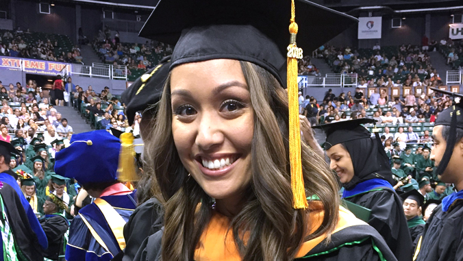 Yvonne Yokono in graduation attire