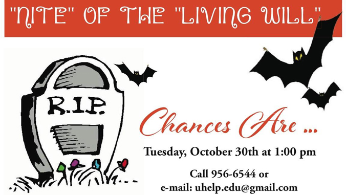 Nite of Living Will flyer, details in story