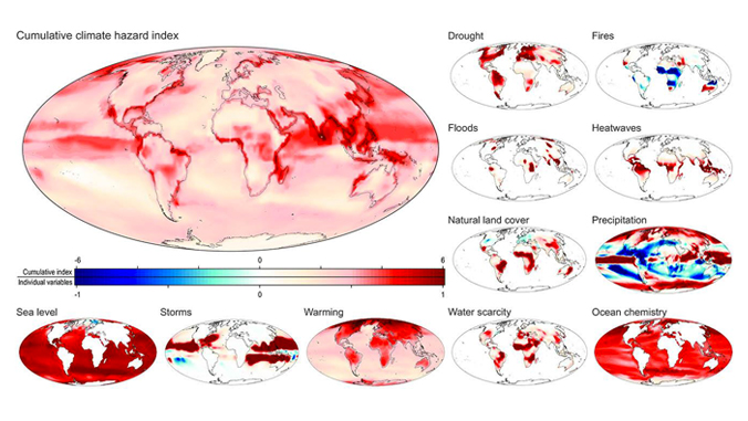 A map with smaller maps mostly with red indications of drought, fires, floods, heatwaves, natural land cover, precipitation, water scarcity, ocean chemistry, sea levels, storms and warming