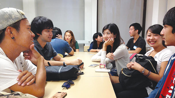 Students having conversations