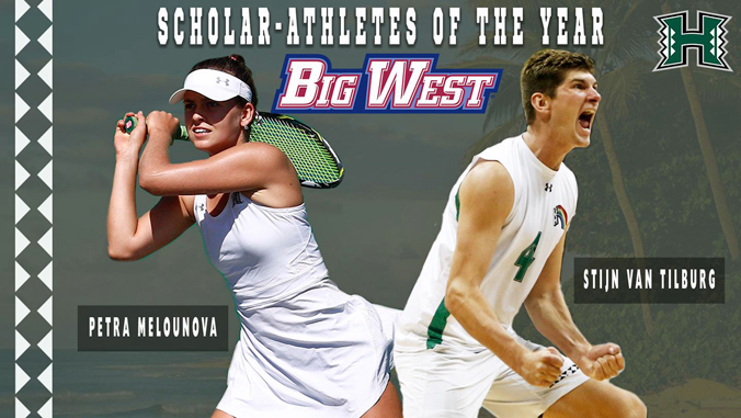 """Tilburg and Melounova with words """"Scholar-Athletes of the Year Big West"""""""