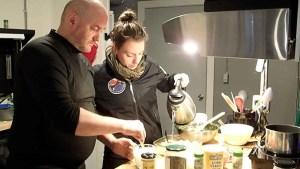 Researchers preparing food in the HI-SEAS habitat