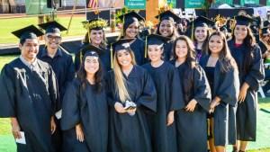 students in graduation regalia